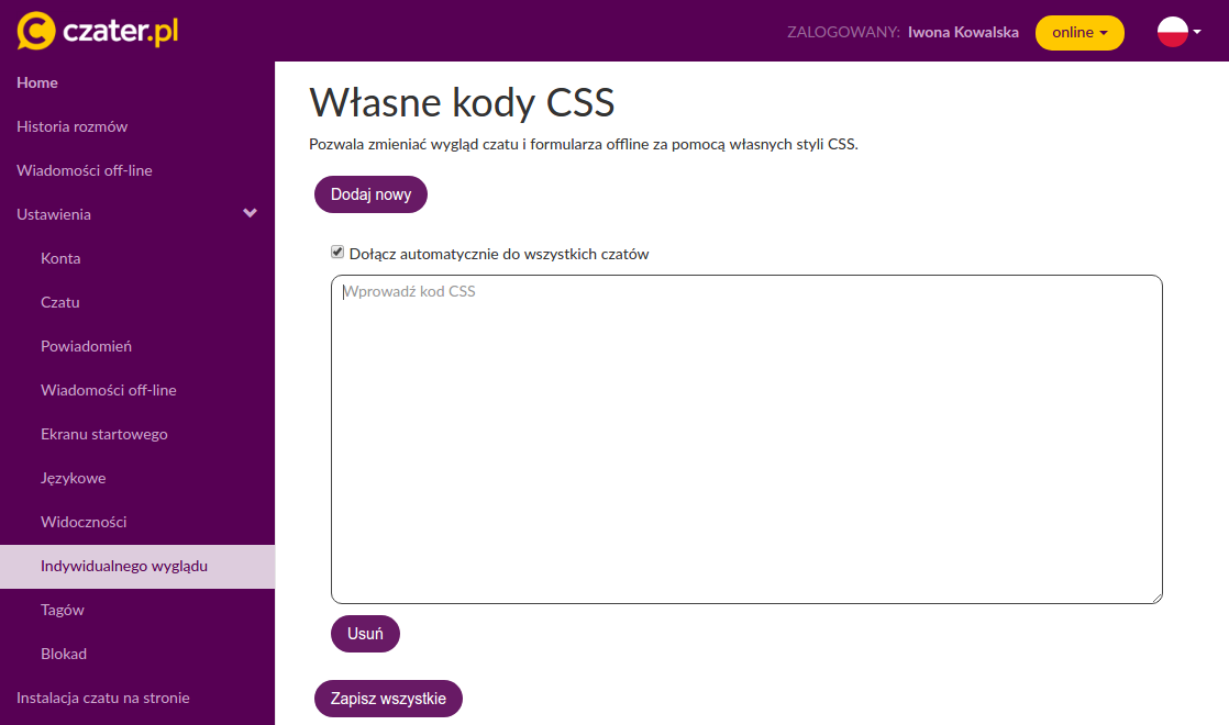 Własne CSS